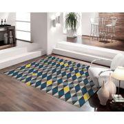 Tapete para Sala Casa Meva Geométricos Azuis 200 x 140 cm