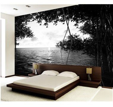 Painel de Parede em Tecido Autocolante Paper Root P&B 330x280cm