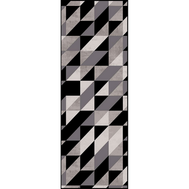 Passadeira Casa Meva Geométrico Black & Gray 66 x 240 cm