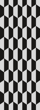 Passadeira Hexagon P&B 66 x 240 cm