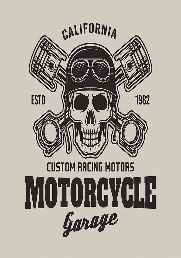Tapete Motorcycle skull 200x140 cm