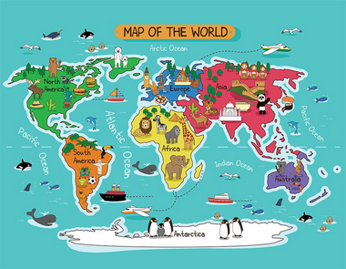 Tapete Interativo Infantil Mapa Mundi 180 x 140 cm