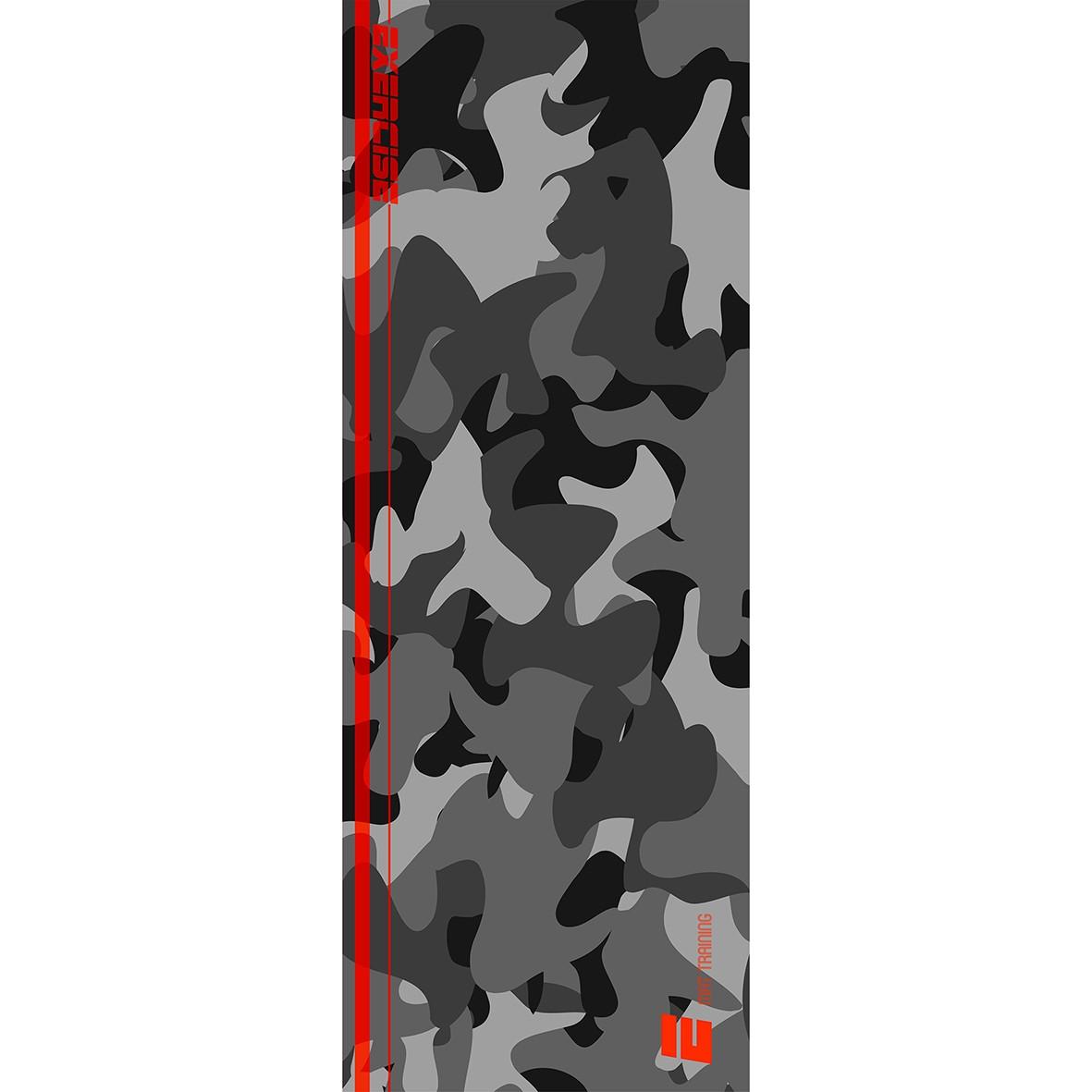 Tapete Mat exercícios Camuflado Cinza 0,66X1,85m