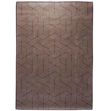 Tapete Casa Meva Cubos Cinza Antiderrapante 200 x 140 cm