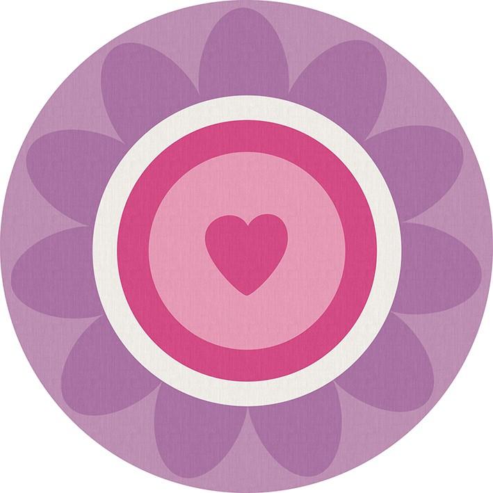 Tapete redondo Infantil Bebê Flower Heart 1,40mx1,40m