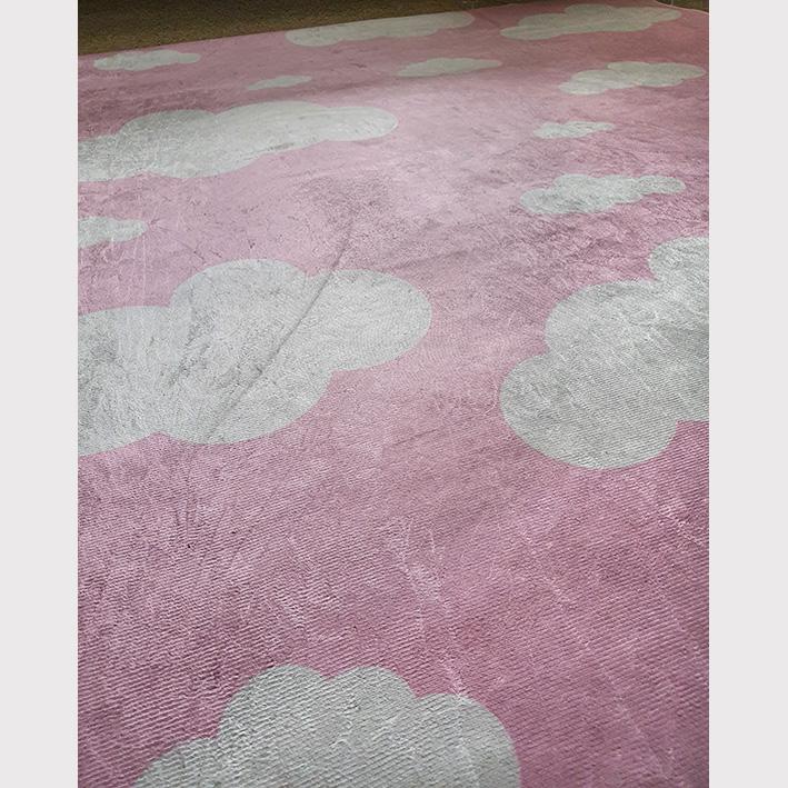 Tapete redondo Infantil Bebê Poás Pink 1,40mx1,40m