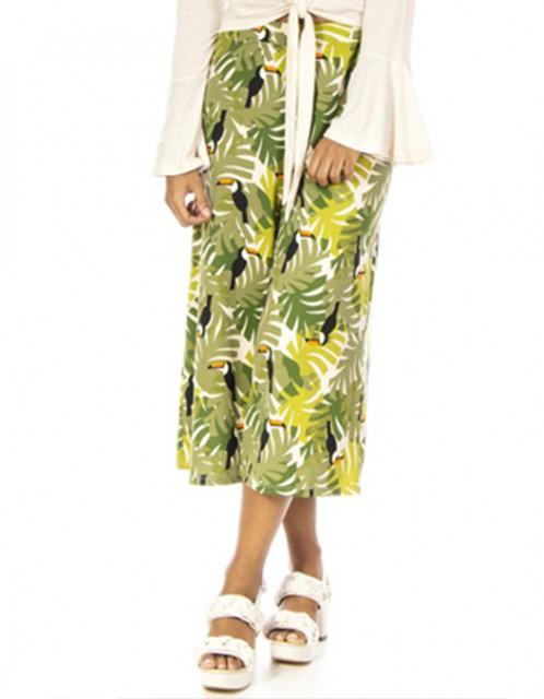 Calça OCNA BRASIL Pantacourt Tucanos Verde/Animal Print