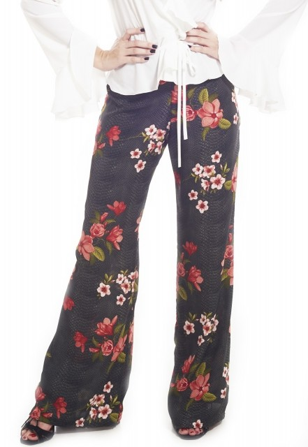 Calça Ocna Brasil Pantalona Amor Perfeito Floral