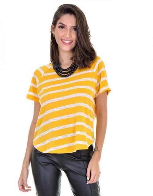 Camiseta OCNA BRASIL Listrada Amarela