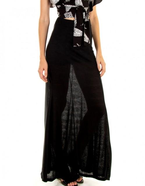 Saia Longa OCNA BRASIL Transparente com Hot Pants Preta
