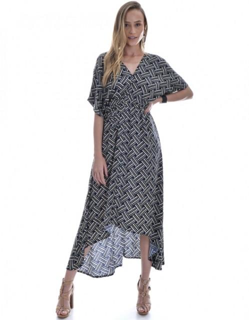 Vestido OCNA BRASIL Evasê Mulet Mangas Cinza