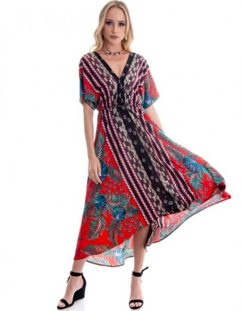 Vestido OCNA BRASIL Evasê Mulet Mangas Vermelho