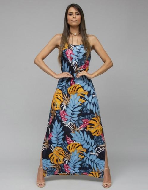 Vestido Ocna Brasil Fau Azul/Amarelo