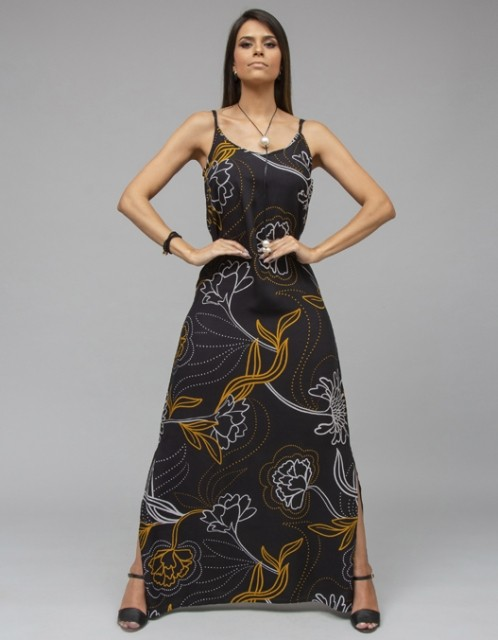 Vestido Ocna Brasil Fau Preto/Amarelo