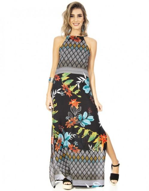 Vestido OCNA BRASIL Longo Bromélias/Aquarela Floral