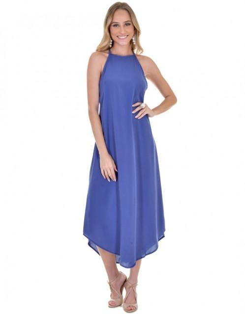 Vestido OCNA BRASIL Midi Evasê Azul