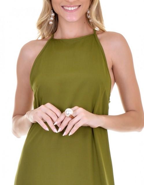 Vestido OCNA BRASIL Midi Evasê Verde