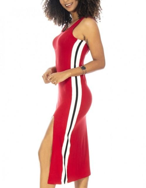 Vestido OCNA BRASIL Midi Ribana Faixa Lateral Vermelho