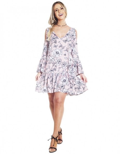 Vestido OCNA BRASIL Ombro de Fora Lily Floral