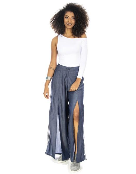 Calça OCNA BRASIL Pantalona Jeans Com Fenda Azul