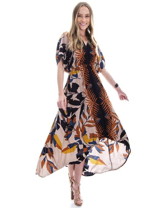 Vestido OCNA BRASIL Evasê Mulet Mangas Marrom