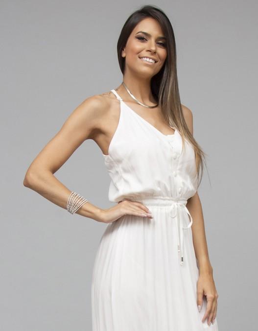 Vestido OCNA BRASIL Ginga Off White/Rosa