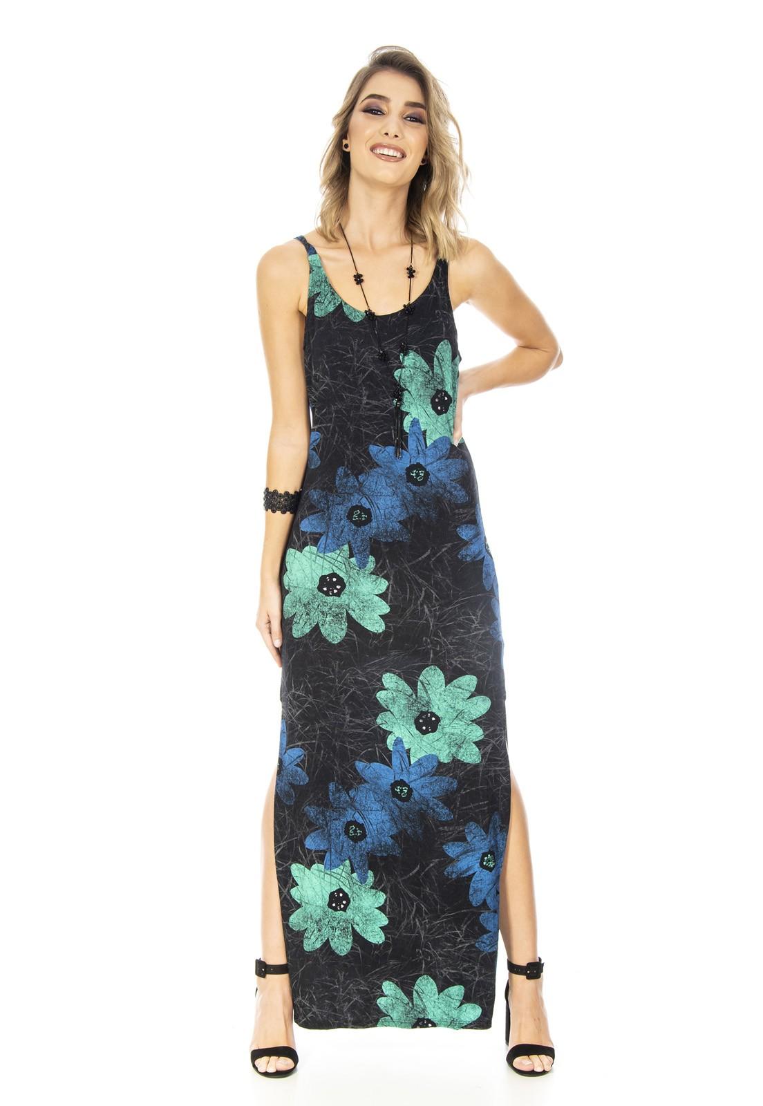 Vestido OCNA BRASIL Longo Regata Floral/Listrado Bordo