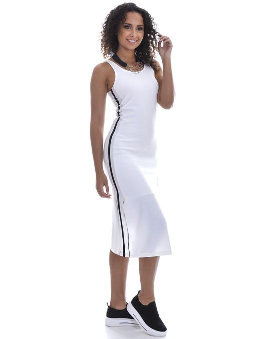 Vestido OCNA BRASIL Midi Ribana Faixa Lateral Off White