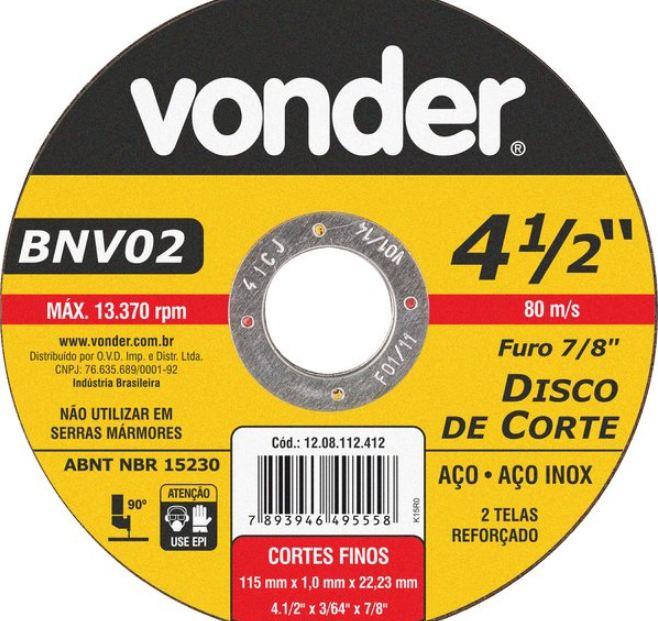 Disco de Corte, Aço Inox 4.1/2 X 7/8 - Vonder