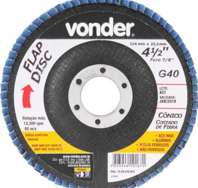 Disco Flap Conico, 4.1/2, G40 - Vonder