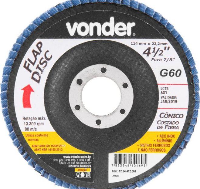 Disco Flap Conico, 4.1/2 G60 - Vonder