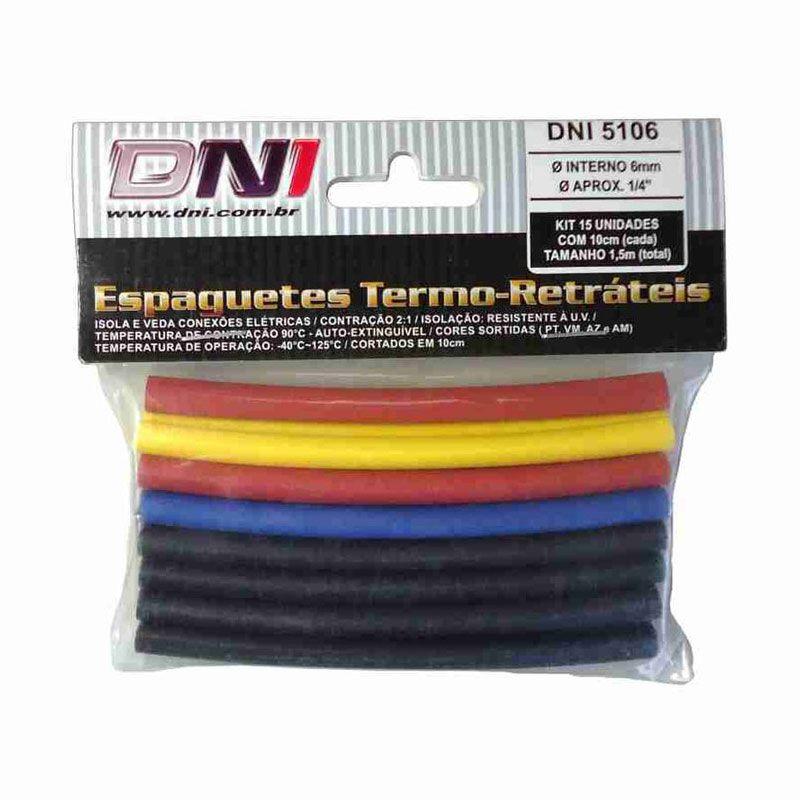 Espaguete Termo Retrátil - DNI, Kit, 15 Peças, 6mm