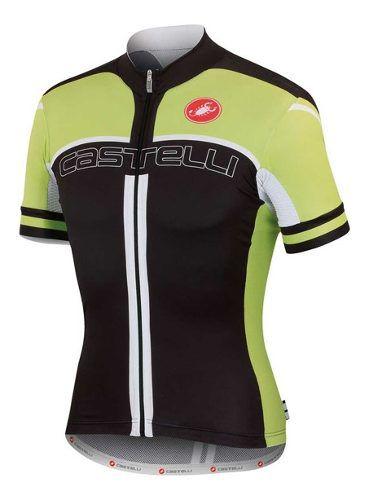 Camisa Castelli Free Air 4.0 Fz Na Cor Preto E Verde