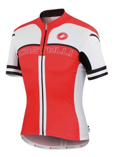 Camisa Castelli Free Ar 4.0 Fz Na Cor Vermelho e branco