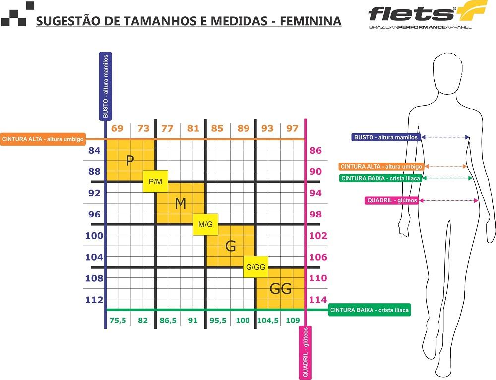 Bermuda Flets Basic Compression Feminina na cor Preto