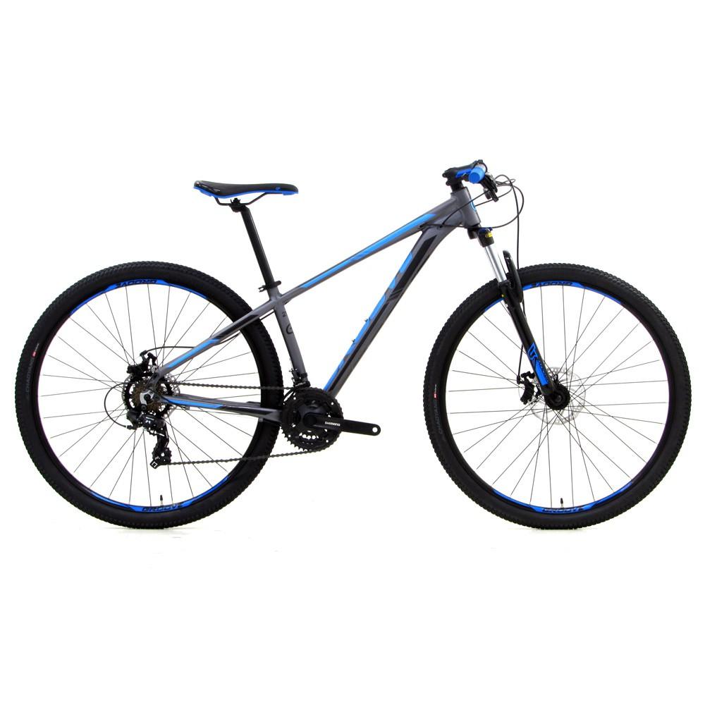 Bicicleta Groove Hype 10 aro 29 21v DM na cor Grafite/Azul/Preto Fosco