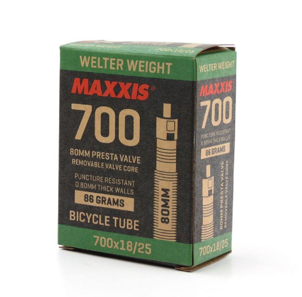 Câmara de ar Maxxis Welter Weight 700x18/25c com válvula de 80mm