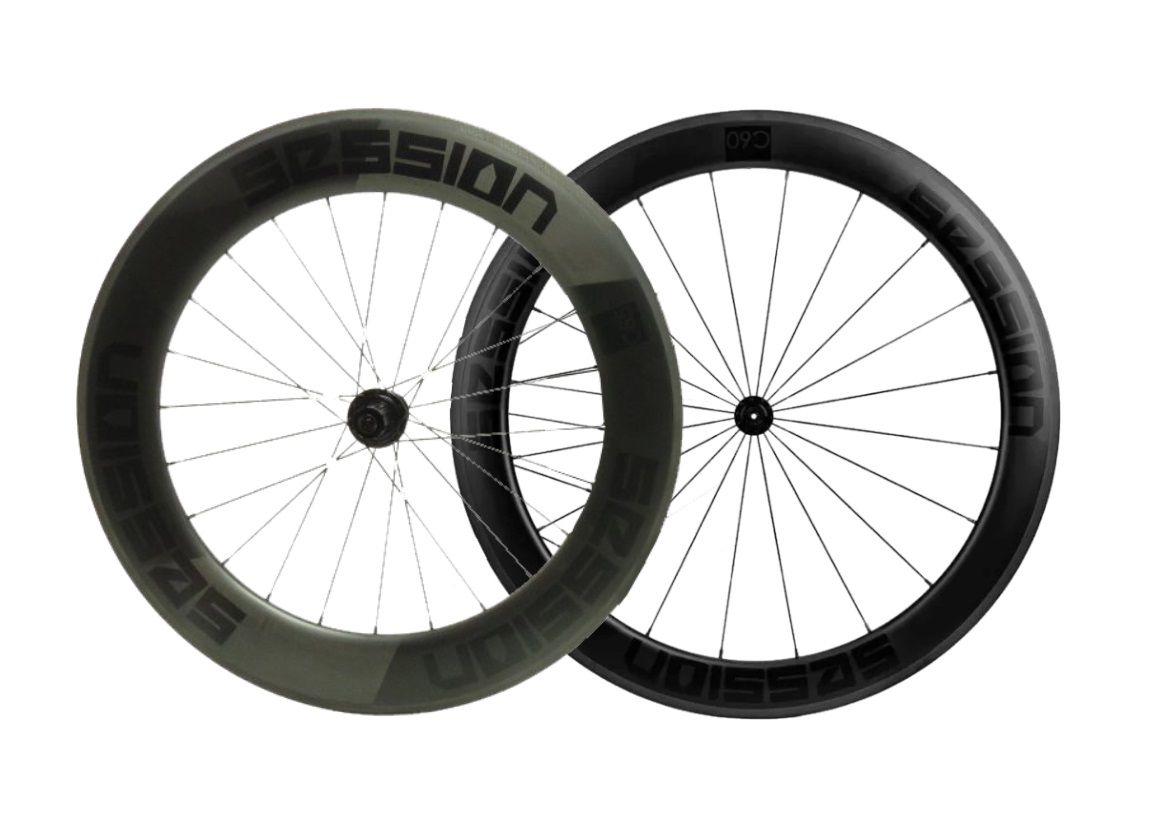Rodas Session C85/c60 Carbon Clincher (freio no aro)