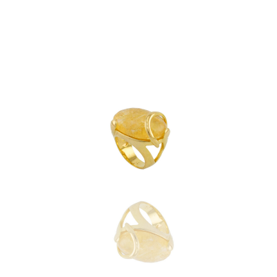 Anel Barbara Strauss Luane Pedra Natural Citrino Amarelo