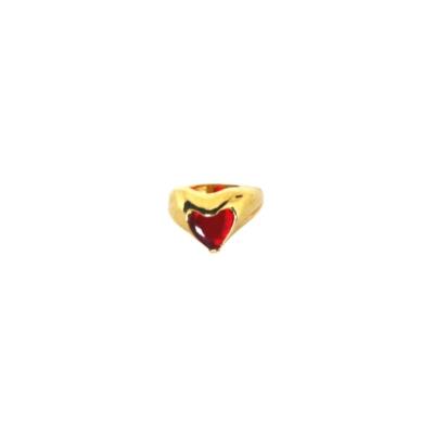 Anel Barbara Strauss Quartzo Coração Vermelho Banho Dourado