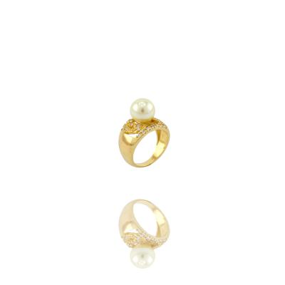 Anel Barbara Strauss Semi Joia Lady Em Zircônia Pérola Lalique, Rev. Em Ouro Amarelo 18K