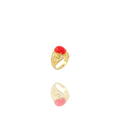 Anel Barbara Strauss Semi Joia Lyon Em Resina Lalique Vermelho, Rev. Em Ouro Amarelo 18K