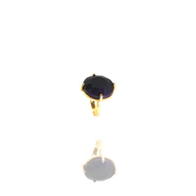 Anel Barbara Strauss Semi Joia Naigata Em Resina Lalique Azul Escuro, Rev. Em Ouro Amarelo 18K