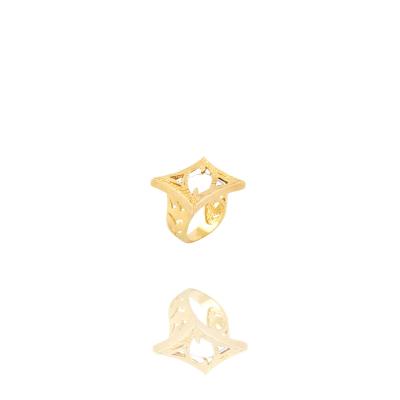 Anel Barbara Strauss Semi Joia Ninive Em Resina Lalique Branca, Rev. Em Ouro Amarelo 18K