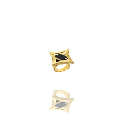 Anel Barbara Strauss Semi Joia Ninive Em Resina Lalique Preto, Rev. Em Ouro Amarelo 18K