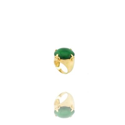 Anel Dourado Hary Pedra Verde Banhado a Ouro Barbara Strauss