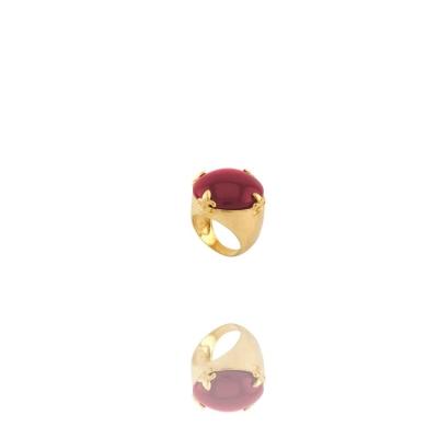 Anel Dourado Hary Quartzo Rosa Banhado Ouro Barbara Strauss