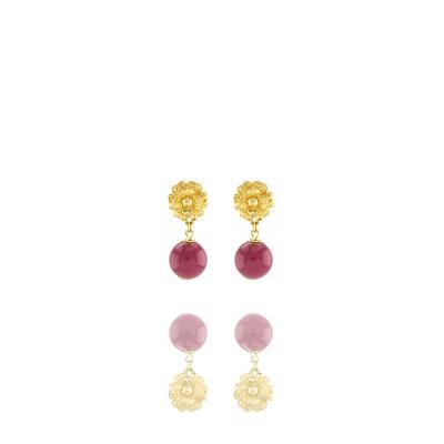 Brinco Barbara Strauss Semi Joia Evosmos Em Resina Lalique Vinho,Revestido Em Ouro 18K