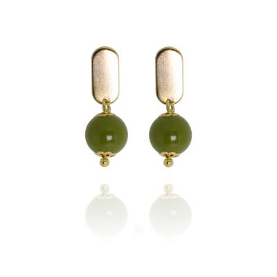 Brinco Barbara Strauss Semi Joia Soacha Em Resina Lalique Verde, Rev. Em Ouro Amarelo 18K