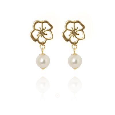 Brinco Barbara Strauss Semi Joia Tebas Em Pérola Lalique, Rev. Em Ouro Amarelo 18K